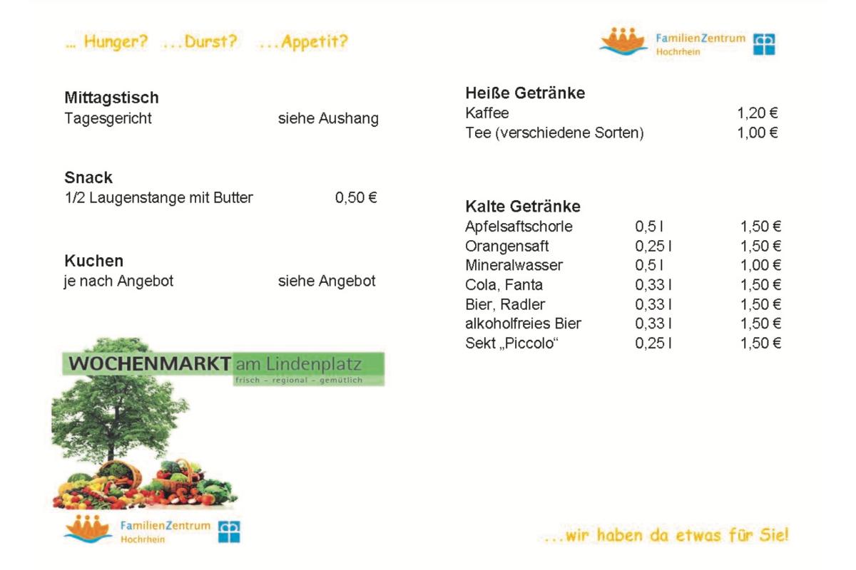 Speisekarte Kaffeestube am Lindenplatz